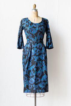 vintage 1950s suzy Perette black blue rose dress