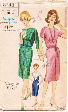 Vintage 1960s Vogue Pattern 5241 Womens One Piece by CloesCloset, $22.00