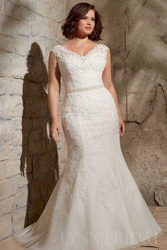 Trumpet V Neck Capped Lace Plus Size Wedding Dress