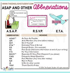 Some useful abbreviations to learn ASAP! #ESL #English #teaching See more @ www.theenglishstudent.com