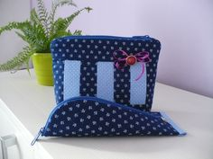 Blue cosmetic bag with pencil case