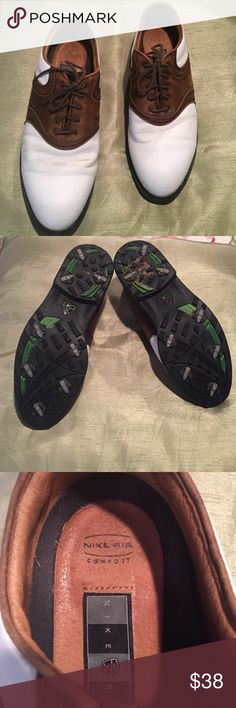 MEN'S NIKE vintage look golf shoes MENS NIKE vintage look golf shoes. Have been worn a lot but still has LOTS of life in them. Soles are in GREAT condition. Comfort fit. Nike Shoes Athletic Shoes