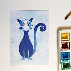 Das ist die Katze vom blauen Planeten. Der Planet gehört zum kleinen blauen Universum. Dort kann man die Unendlichkeit spüren. Ein Ort den jeder von euch finden kann, wenn man dafür offen ist - besonders bei Vollmond.    Katze Aquarell Contemporary Art  Painting I Card, Moose Art, Photo And Video, Illustration, Animals, Instagram, Blue Moon, Infinity, Planets