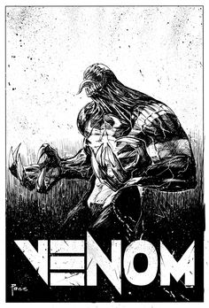 """Venom Commission ink and white paint on bristol, 11x17"""" •Richard Pace"""