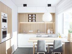 http://boomzer.com/artistic-apartment-designs-idealy-for-junior-families/small-kitchen-clean-kitchen-glass-windows-grey-dining-sofa-chair-wood-dining-table-wooden-paneling-white-ceiling-lamp-shade-grey-ceramic-floor-downlight-green-plants-indoor-kitchen-sink/