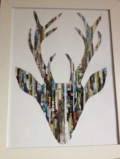Drew a silhouette of a stag head and cut strips out of a hunting and fishing magazine and ....tadaaaaa