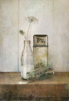 Old retro milk bottles and Bell Tea container. Still life photography by Lucy Gauntlett Still Life Photos, Still Life Art, Wabi Sabi, Carafe, Still Life Photography, Art Photography, Raindrops And Roses, Antique Photos, Portraits
