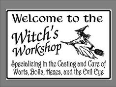 Metal-Sign-Witchs-Workshop-Kitchen-Witch-Pagan-Wiccan-Halloween-Wall-Art