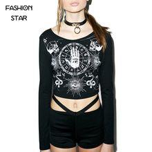 2016 Women's T Shirts Black Cropped Top Summer T-shirt For Women Plus Size Harajuku Tops Long Sleeve Printed Crop Tumblr T Shirt(China (Mainland))