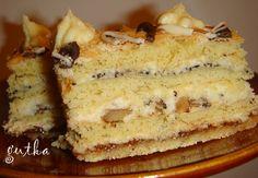 Пляцок Горіховий від Каті Hungarian Cake, Russian Desserts, Traditional Cakes, Sugar Cookies, Vanilla Cake, French Toast, Recipies, Deserts, Food And Drink