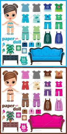 Paper doll with clothes set Paper Dolls Clothing, Barbie Paper Dolls, Paper Dolls Book, Paper Toys, Fabric Dolls, Paper Doll House, Paper Houses, Paper Doll Template, Paper Dolls Printable
