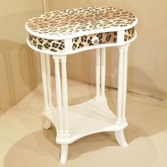 leopard print decor   Leopard Print Side Table   Hand Painted Furniture   Chic Liaison