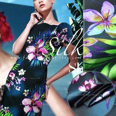 Hawaii Fabric Liberty of London Black Silk Fabric