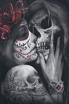 Dead Kiss Square Diamond Painting Product Description: At Pretty Neat Creative, we believe that noth Kunst Tattoos, Chicano Tattoos, Bild Tattoos, Tattoo Drawings, Body Art Tattoos, Cross Tattoos, Foot Tattoos, La Muerte Tattoo, Catrina Tattoo