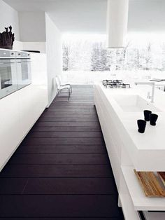 "Modern White Kitchen Wood Floor handleless kitchen - google search | modern ""handles"" 