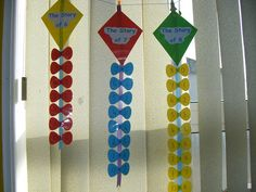 math fact kites, could also do this for factors of common numbers... I like it!