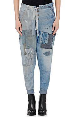 Greg Lauren Patchwork Drop-Rise Lounge Pants - Cropped - Barneys.com