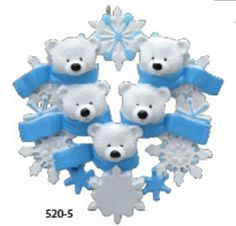 Polar+Bear+Family+of+Five+with+Snowflakes++by+TreasuredOrnaments,+$12.95