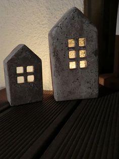 Decorative objects - concrete houses, concrete house lantern, stone house - a designer . Cement Art, Concrete Cement, Concrete Houses, Concrete Crafts, Concrete Projects, Concrete Garden, Concrete Design, Clay Crafts, Diy And Crafts