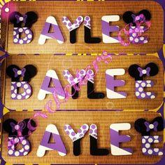 Lavender Minnie Mouse Painted Letters!