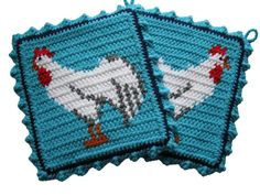 Chicken Pot Holder Set.  Crochet rooster potholders.