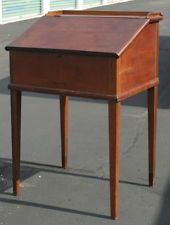 antique Primitive schoolmaster desk, dark patina, great storage piece!