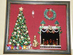 Vintage Jewelry Christmas Tree & Fireplace
