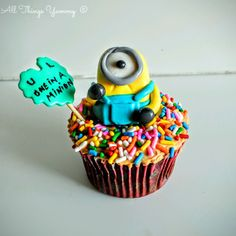 Mother's Day - One in a Minion Cupcake | All Things Yummy | A mocha cupcake with Espresso Buttercream Icing and Minion love, to let your mother know that she's One in a Minion! #allthingsyummy #minion #mocha #cupcake
