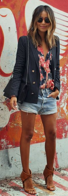 SOMEDAYS LOVIN' turnpike floral button up with pinstripe blazer by Sincerely Jules