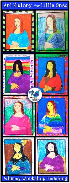 Leonardo DaVinci is a vehicle to explore history, culture, art, fine motor, discussion, inventions, ideas and more! These are my students' creations for lesson #4 of Art History for LIttle Ones - Mona Lisa. Whimsy Workshop Teaching http://whimsyworkshop.blogspot.ca/