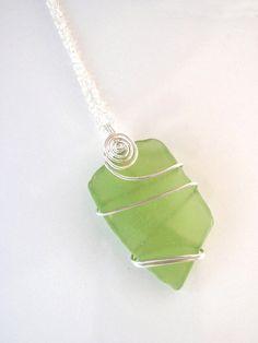 wire wrap beach glass | Sea Glass Jewelry Beach Glass Pendant Wire by GildedOwlJewelry