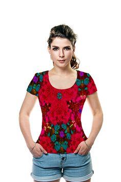 By #SandyMertens All Over Printed Art Fashion #T-Shirt by #OArtTee #Red #Flower #Kaleidoscope #shirt