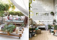 Again with the repurposing of packing pallets: brilliant! Bring inside spaces to the outdoors. Beautiful.