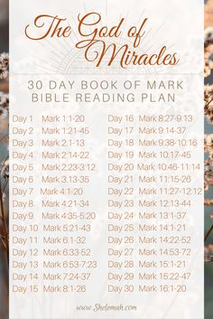 The God of miracles 30 day Bible study reading plan through the book of Mark