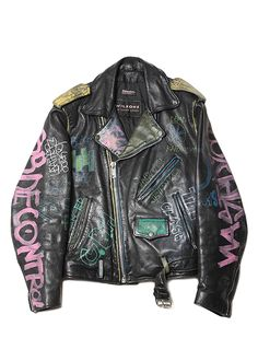"""""""Who ever owned this jacket had extremely good taste in bands.""""  That or he/she was just an ordinary punk with a leather jacket.  Now it's $750."""