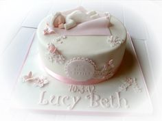Baby girl christening cake - by cakebookeve @ CakesDecor.com - cake decorating website