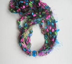 Mélange Fiber and Bead Necklace  Turquoise Green  by knittykittie, $18.00