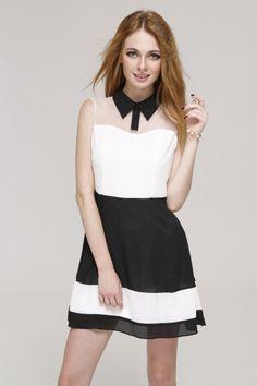 Neckband Grenadine Splicing Layered Dress//