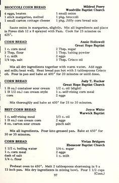 A book of favorite recipes. Retro Recipes, Old Recipes, Vintage Recipes, Cookbook Recipes, Cooking Recipes, Recipies, Cornbread Mix, Cornbread Recipes, Cornbread Casserole