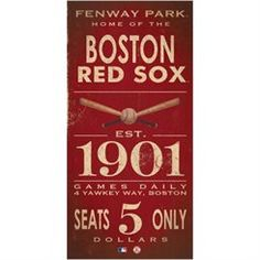 Boston Red Sox 10'' x 20'' Vintage Sign - Red