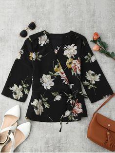 Floral Wrap Kimono Blouse - FLORAL S