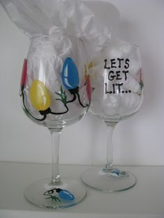 "Christmas Wine Glass  Hand Painted Personalized "" Lets Get Lit"" on Etsy, $18.00"