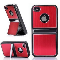ATC Cell Phones and Accessories Aluminum TPU Hard Case Cover with Chrome Stand For iPhone 4 4G 4S and Screen Protectors, Stylus-Red