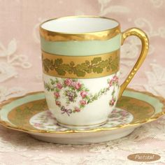 Limoges Gold, White  Green Cup  Saucer, 1900-1910