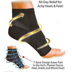 """Click the ORANGE """"Add to Cart"""" button now! Limited quantity - will sell out fast! Feature: Anti-fatigue compression foot sleeve provides relief for achy heels a"""