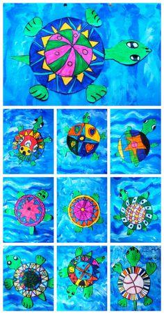 TAPES D'ÀLBUM DE 3r Els alumnes de tercer han dissenyar i decorat aquestes tortugues marines amb retoladors.. Després han pintat amb temperes el fons de l'oceà i han afegit uns tocs de purpurina blav