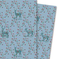 """Klassisches Hirsch Geschenkpapier """"Beerenwild"""", blau (4 Bögen, 32 x 47,5 cm)  #beeren #blau #dekorpapier #floral #geschenkpapier #hirsch #verpackung #einpacken #verpacken #basteln  Ideal um kleine Geschenke ohne Verschnitt liebevoll einzupacken. • Design: GMM Entdecken Sie die #Kartenkaufrausch Geschenk-/ #Dekorpapier mit vielen Motiven #individuell #witzig #modern bis #klassisch • #Geschenkpapier Größe: (H) 47,5 cm x (B) 32 cm Material: Papier 90gr - einseiti"""