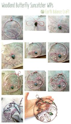 Woodland Butterfly Suncatcher WIPS. Work in progress copper wire work and semi-precious gemstone craft project.