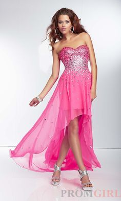 Mori Lee Strapless Beaded High Low Prom Dresses or Gowns-#prom #dresses #gowns