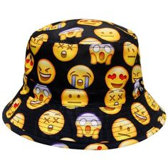 City Hunter Bd1250 Face Emoji Bucket Hats - Black at Amazon Women's... ($13) ❤ liked on Polyvore featuring accessories, hats, black hat, black fisherman hat, fisherman hat, fishing hats and bucket hats